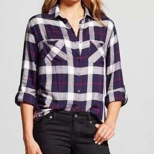 Knox Rose Womens Mixed Knit Flannel Shirt Size L